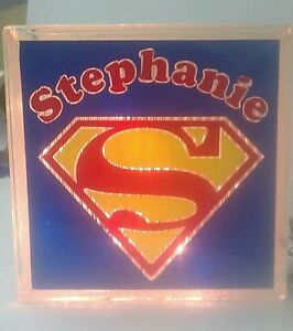 Personalized Superman Glass Block Light~ Home Decor~Gift~Lamp