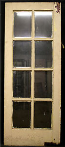 2 Avail 32 X79 Antique Vintage French Wooden Swinging Door 8 Beveled Glass Lite