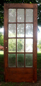 36 X84 Antique Vintage Oak Wood Exterior Entry French Door 12 Beveled Glass Lite
