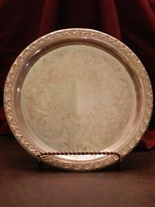 Silver Plated 10 25 Plate Round Wm Rogers 770 Platter Tray Exc Cond