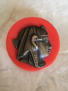 Vintage Egyptian Revival Cleopatra Brass Relieve Repousse Celluloid Button