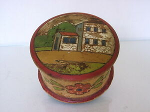 Russian Carved Painted Box C 1930 Maked Made In Soviet Union Folk Art