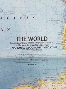 Vintage The World Map National Geographic February 1965 Mid Century Collectible