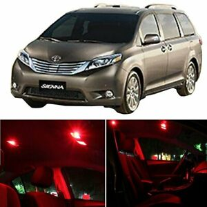 9x Red Car Led Bulb Lights For Toyota Sienna 1998 2003 Interior P