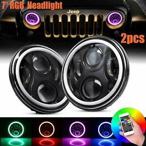Fit Jeep Wrangler Jk Tj Lj Halo Rgb 7 Led Headlights Drl Lights Combo Kit 2pcs