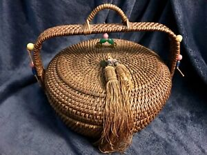 Large Antique Chinese Sewing Basket W Handle Beads Tassels