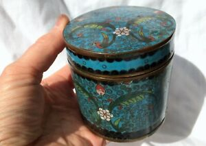 Round Antique Chinese Bronze Cloisonn Enamel Blue Tea Caddy Jar Opium Container