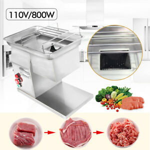 110v Stainless Commercial Meat Slicer Cutting Machine Cutter 250kg hour 3mm 800w