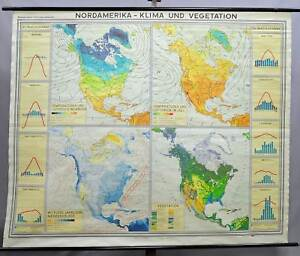 Vintage Geographical Wall Chart Poster Map North America Climate Vegetation