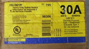 Square D Hu361n 3 Pole 30 Amp 240v Non fused Safety Switch With Neutral Nib