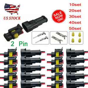 10 20 30 40 50 Sets Kit 2 Pin Waterproof Electrical Wire Connector Plug Car Auto