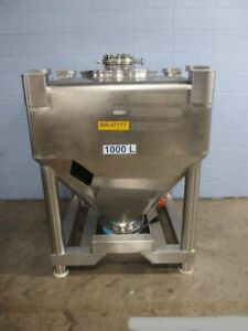 1000 Liter Polished 316 Stainless Steel Conical Bottom Powder Tote Tank