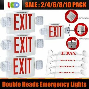 Led Exit Sign Emergency Light red Compact Combo Ul924 Fire Safety Lot Sale Mx