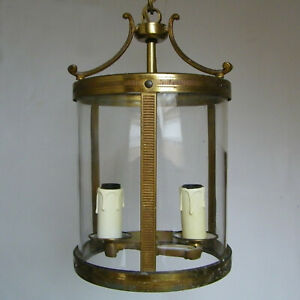 Antique French Lantern Brass Bronze Cylindrical Glass Hanging Ceiling Light