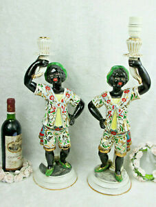 Pair Italian Venetian Blackamoor Faience Porcelain Figurine Table Lamps 1950