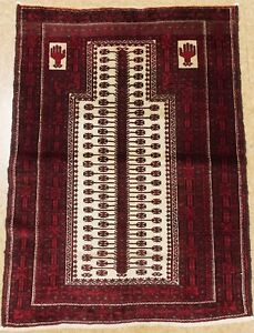 Persian Rug Balouch Prayer Hand Knotted Wool Ivory Vintage Oriental 3 2 X 4 4