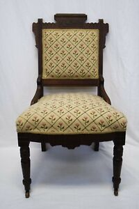Euc Antique Eastlake Victorian Parlor Chair Dark Wood Pink Rose Needlepoint