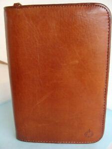 Pocket Size Brown Leather Deluxe Franklin Covey Zip notepad Planner Organizer