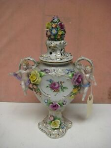Lovely Dresden Sitzendorf Vase With Lid Hand Painted And Cherubs 13
