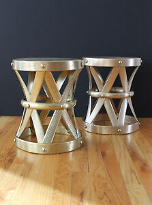 Mid Century 50 S Solid Brass Hand Forged X Stools Drum Tables Made In Hong Kong