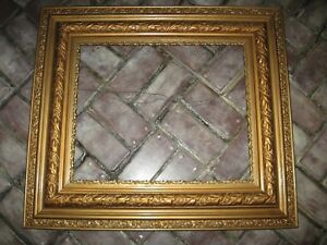 Antique Vintage Gold Gilt Gesso Carved Wood Picture Frame Fits 18 X 22 Large