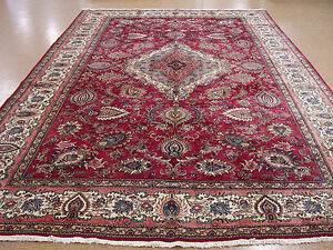 Persian Rug Tabrizz Hand Knotted Wool Reds Blues Large Oriental Carpet 12 X 18