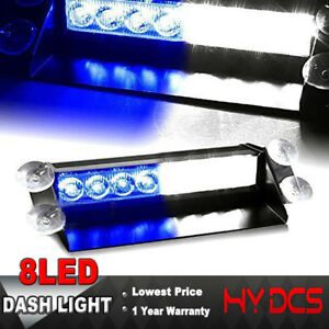 8 Led Car Emergency Warning Dash Strobe Police Light Blue White 3 Flashing Modes