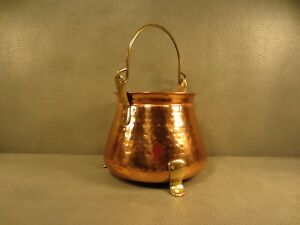 Vintage Copper Kettle Pot Planter Cauldron Decor Brass Handle
