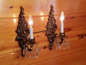 Vtg Antique Victorian Crystal Ornate Metal Wall Sconces Set Of 2 Light Fixtures