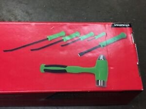 new Sealed Snap on 4 piece Striking Prybar Set 32oz Hammer Chisel Green