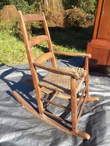 Shaker Antique Rocker Ladder Back Rocking Chair Very Early Maple Ash Wood