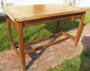 Vintage Drafting Table Oak Hamilton Counter Top High Kitchen Island Size Drawers