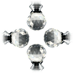 4 X Crystal Glass Clear Kitchen Door Drawer Knobs Handle Silver Each 30mm