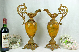 Pair Antique Spelter Bronze Faience French Ewer Pitcher Vases Putti Figurines