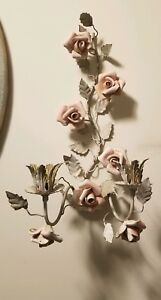 Tole Art Metal Pink Roses Candleholder Wall Sconce