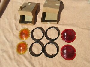 Nos Arrow Glass Red Amber Lenses Ribbed Vintage 3 7 8 Classic Car Truck Rat Rod