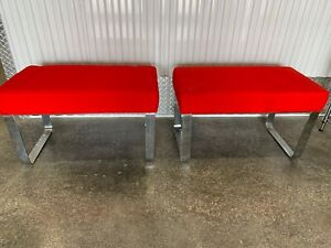 Pair Of Vintage Chrome Milo Baughman Style Upholstered Benches Ottomans Stools