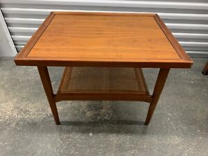 Drexel Kipp Stewart Mcm Declaration Cane Walnut End Side Table
