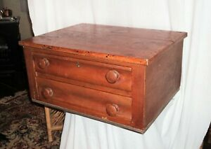 Antique Primitive Early American Two Drawer Jewelry Candle Box Cabinet