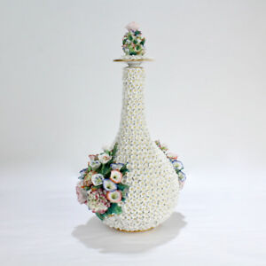 Antique Paris Porcelain Flower Encrusted Schneeballen Bottle By Jacob Petit Pc