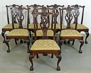 Set Of 8 Vintage Chippendale Mahogany Ball Claw Dining Chairs