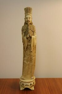 Vintage Antique Chinese Cattle Bone Statue Hand Carved Emperor Must See 16