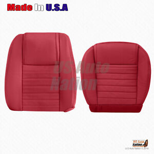Driver Bottom And Top Red Perforated Leather Seat Cover 2005 2009 Ford Mustang
