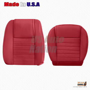 Driver Bottom Top Perforated Leather Seat Cover 2007 2008 2009 Ford Mustang Red