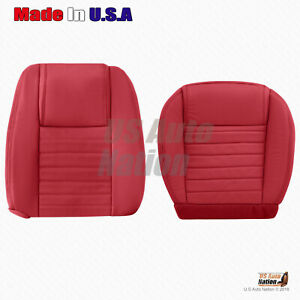 For 2005 To 2009 Ford Mustang Right Bottom top Perforated Leather Seat Cover Red