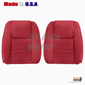 Driver Passenger Tops Perforated Leather Cover Red 2005 To 2009 Ford Mustang