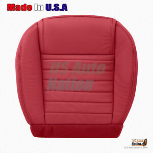 Front Driver Bottom Perforated Leather Seat Cover 2005 To 2009 Ford Mustang Red