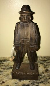 Wood Hand Carved Statue Spanish Man With Bolas 6 Tall