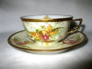 Old Abbey Limoges France Hand Painted Teacup Sauce Artist Signed A Treasure