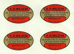 K R Wilson Water Transfer Decals Set Of 4 Ford Tools Model A T V8 V 8 Kr Krw
